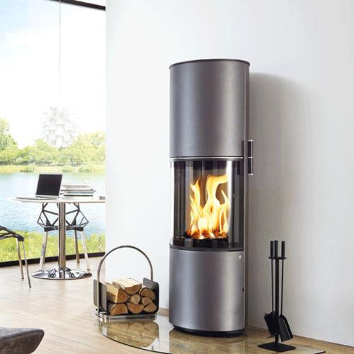 wood heating stove / contemporary / metal / rotating