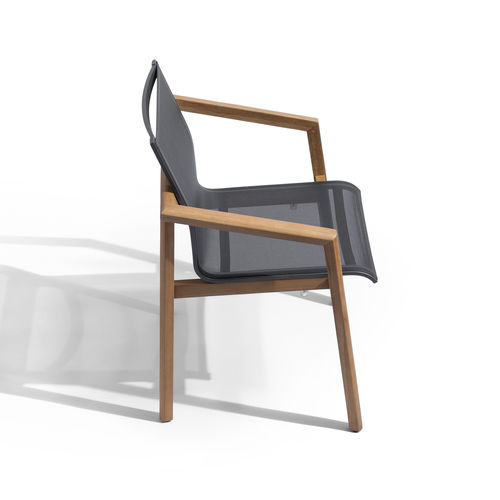 contemporary garden chair / with armrests / stackable / teak