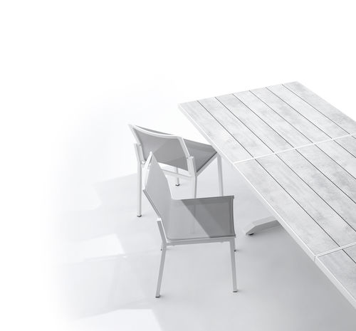 contemporary garden chair / with armrests / stackable / high back