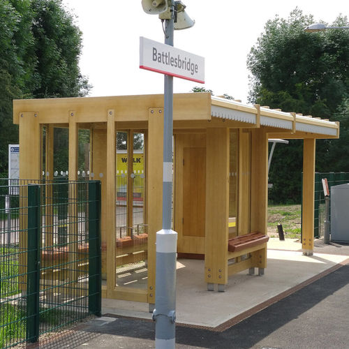 wooden bus shelter