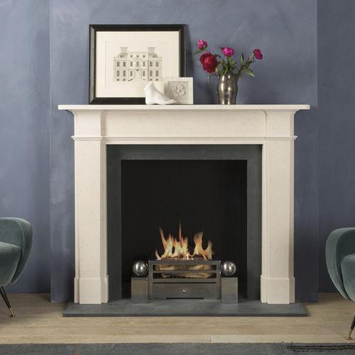 contemporary fireplace mantel / limestone
