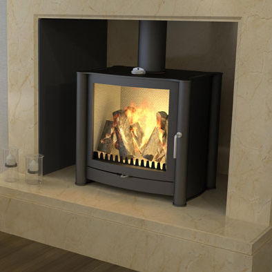 wood heating stove / contemporary / double-sided / stainless steel