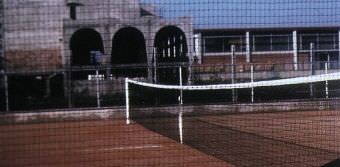 athletic field fence / plastic mesh / metal