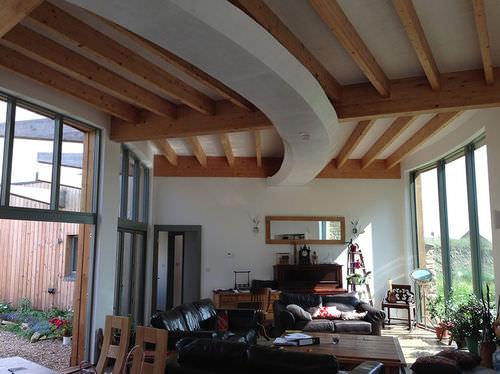 passive house / modular / contemporary / glue-laminated wood