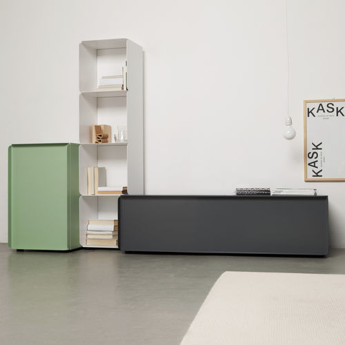 contemporary sideboard / aluminum / lacquered MDF / sheet metal