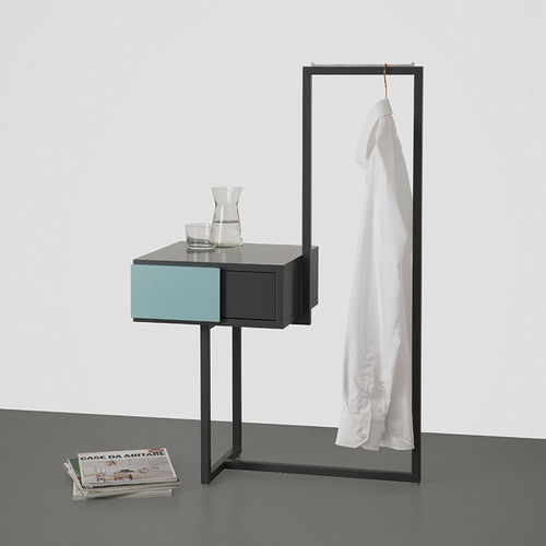 contemporary bedside table / metal / MDF / rectangular