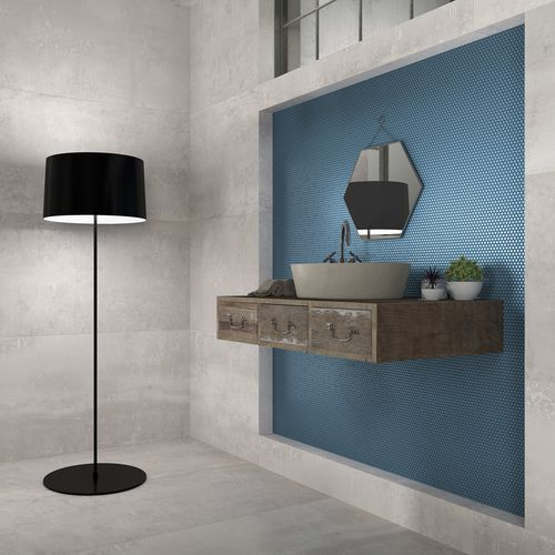 Indoor Mosaic Tile Dots Blue Dune, Blue Mosaic Tile Bathroom Mirror