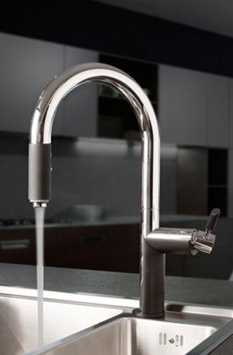 chromed metal mixer tap / nickel / kitchen / 1-hole