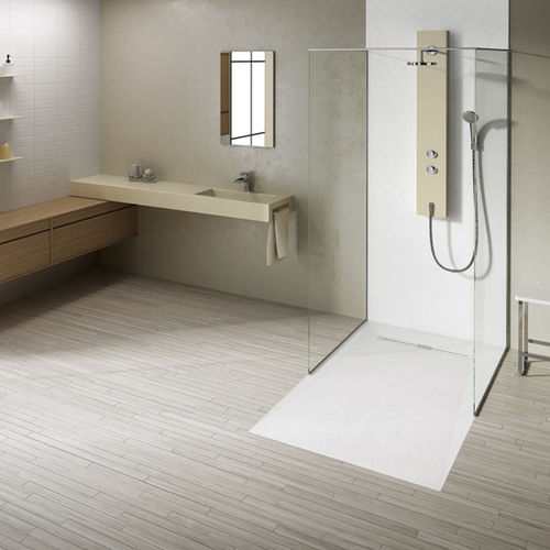 rectangular shower base / floor level / composite / non-slip