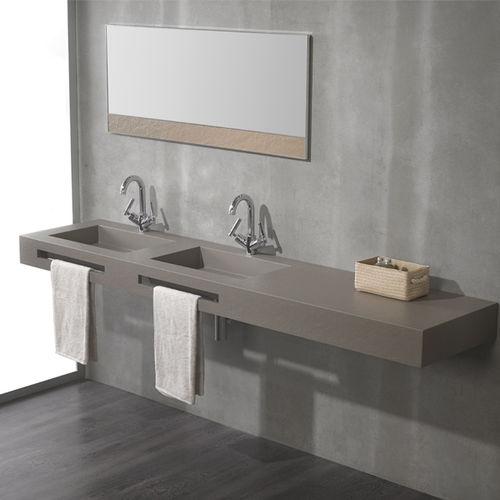 double vanity top / composite / with towel rack