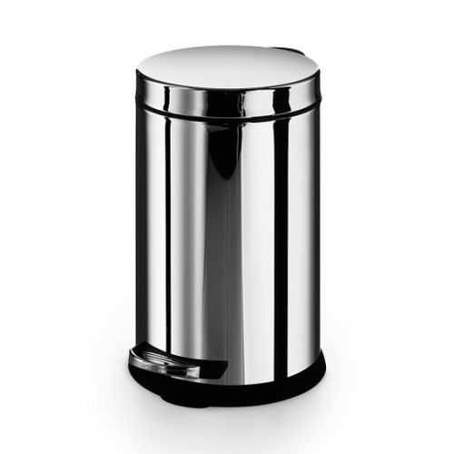 kitchen trash can / hygienic / stainless steel / foot-operated