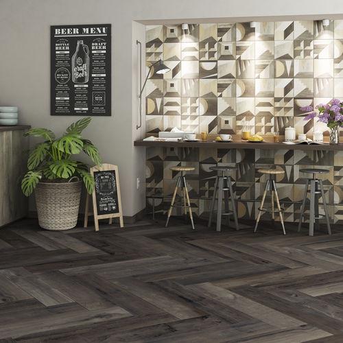 indoor tile / floor / porcelain stoneware / geometric pattern
