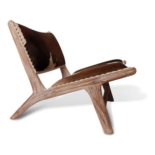 contemporary lounge chair / leather / teak
