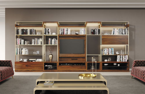 contemporary shelf / wood veneer / polished stainless steel / brushed stainless steel