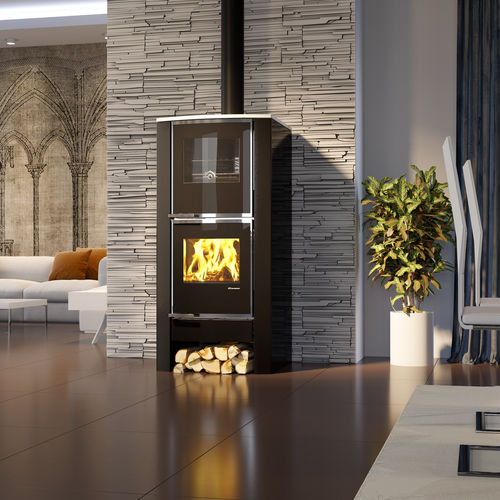 wood boiler stove / contemporary / steel
