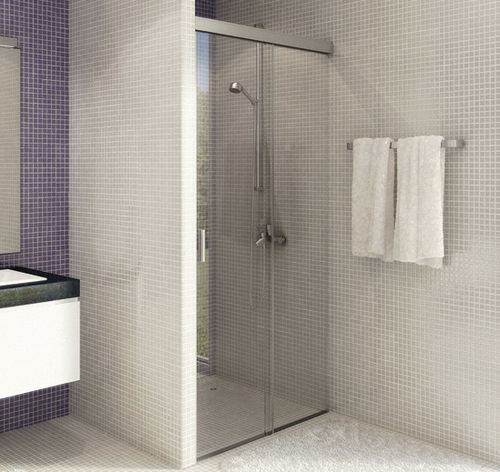 walk-in shower / aluminum / rectangular