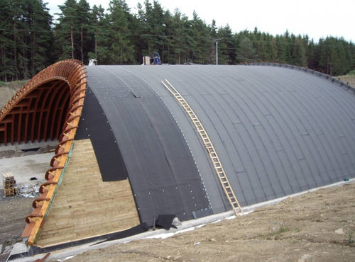 drainage waterproofing membrane / flat roof / roll / polyethylene