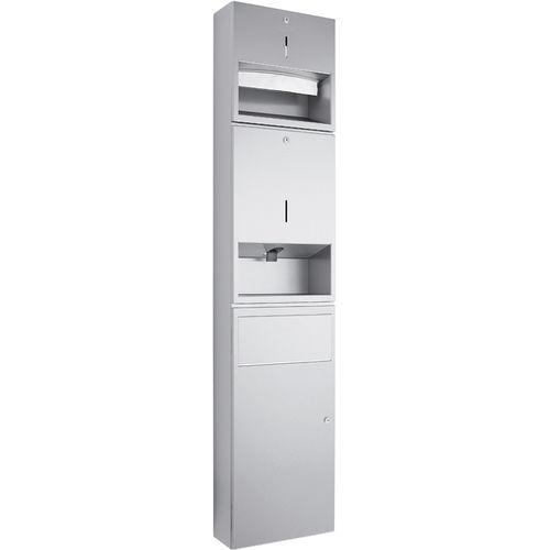stainless steel combination unit / paper towel dispenser / waste bin / soap dispenser