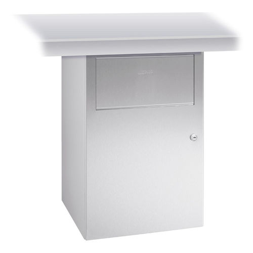 hygienic trash can / undercounter / stainless steel / contemporary