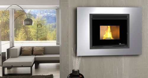 pellet heating stove / contemporary / steel / wall-mounted