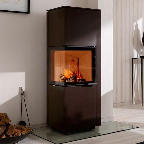 wood boiler stove / contemporary / corner / metal