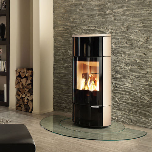 wood boiler stove / contemporary / metal / stone