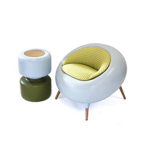 organic design armchair / fabric / oak / fiberglass