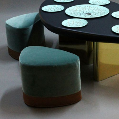 original design stool / fabric / upholstered