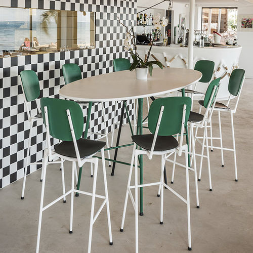contemporary high bar table / metal / oval / for restaurants