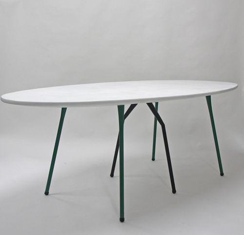 contemporary table / steel / fiberglass / steel base