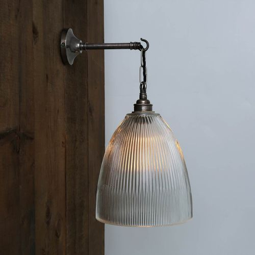 industrial style wall light / brass / glass / halogen