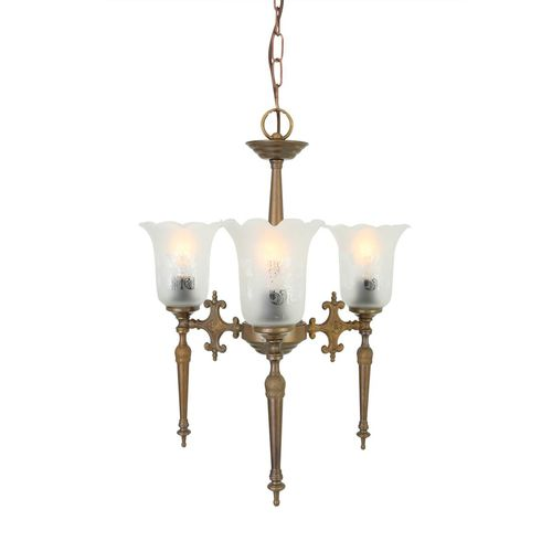 traditional chandelier / glass / polished brass