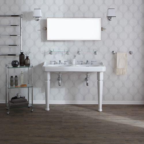double washbasin / free-standing / rectangular / ceramic