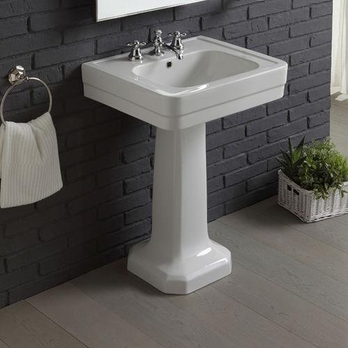free-standing washbasin / rectangular / porcelain / traditional