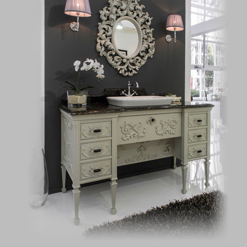 free-standing washbasin cabinet / wooden / traditional