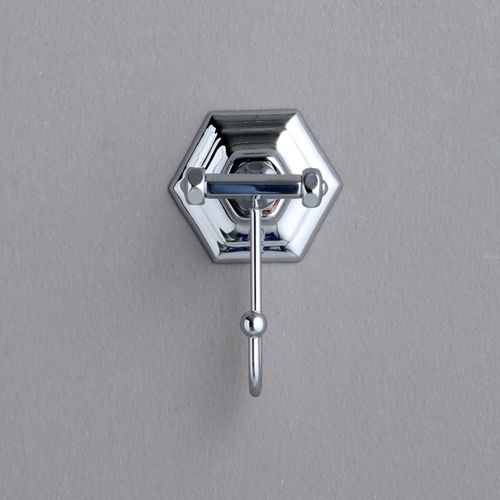 traditional robe hook / chrome-plated brass / single