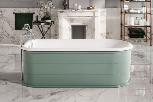 free-standing bathtub / oval / cast iron / enameled metal