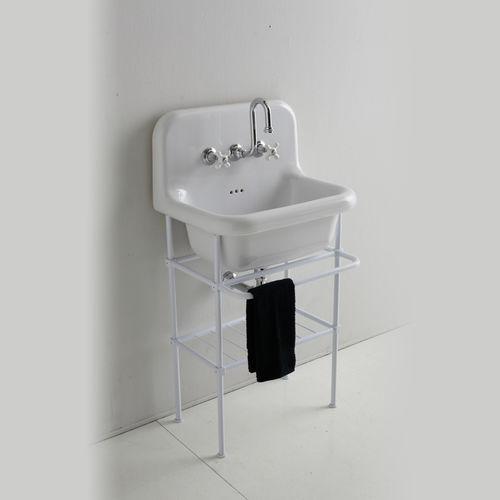 wall-mounted washbasin / ceramic / metal / traditional
