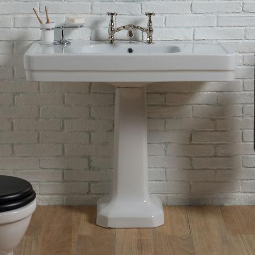 free-standing washbasin / rectangular / ceramic / traditional