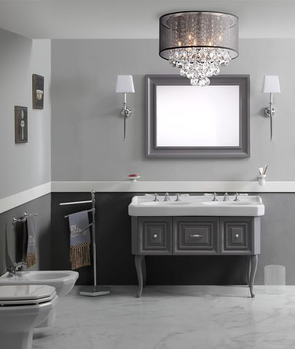 double washbasin cabinet / free-standing / wooden / traditional