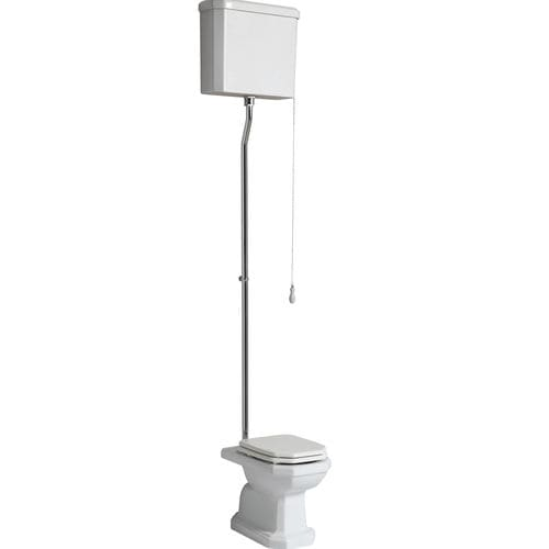 free-standing toilet / ceramic / with high tank