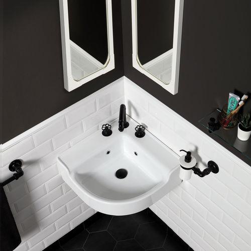 wall-mounted washbasin / corner / ceramic / contemporary