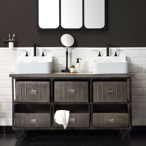 free-standing washbasin cabinet / wooden / metal / traditional