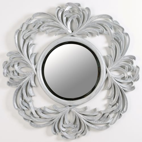 wall-mounted bathroom mirror / classic / round / silver
