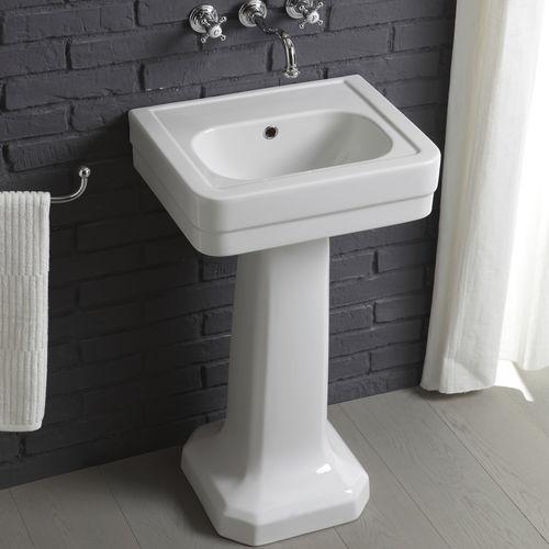 free-standing washbasin / rectangular / ceramic / contemporary