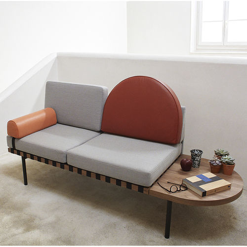 contemporary daybed / fabric / leather / wooden