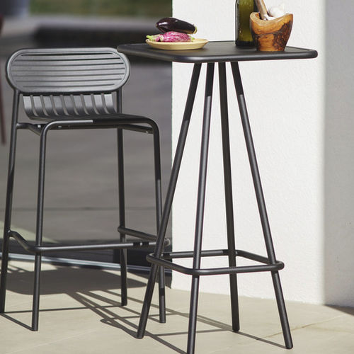contemporary bar chair / with footrest / stackable / aluminum