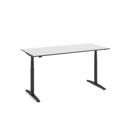 contemporary work table / laminate / rectangular / adjustable-height