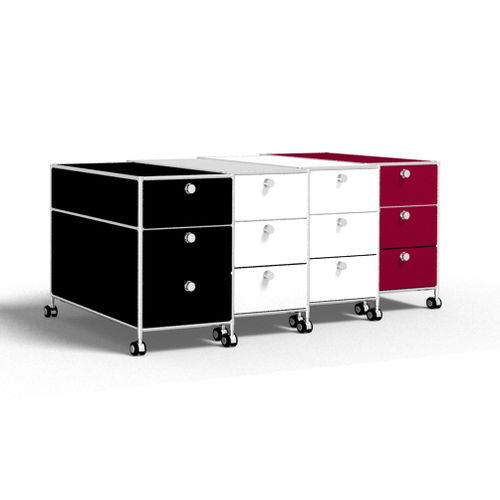 steel office unit / glass / 3-drawer / on casters