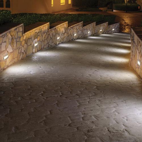 recessed wall light fixture / LED / rectangular / outdoor